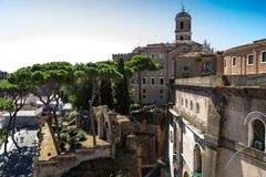 Ancient ruins of roman forum in Rome, Lazio, Italy Stock Image