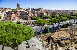 Ancient ruins of roman forum in Rome, Lazio, Italy Stock Photos