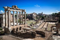 Ancient ruins of roman forum in Rome, Lazio, Italy Royalty Free Stock Images