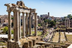 Ancient ruins of roman forum in Rome, Lazio, Italy Stock Photo
