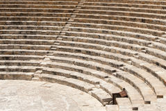 Ancient ruins of Roman Kourion theatre. Excavated by the University Museum Expedition in 1950, Cyprus stock photography