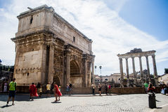 Ancient Ruins of Rome - Imperial Forum - Italy Stock Photo
