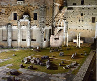 Ancient ruins of Rome by night. Ancient ruins lit up at night in the city of Rome Royalty Free Stock Photo