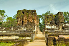 Ancient ruins Royal Palace in Polonnaruwa city temple UNESCO Royalty Free Stock Image