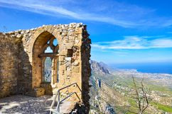Ancient ruins of Saint Hilarion Castle in Northern Cyprus. The medieval ruins of the walls and windows offer an amazing view. Of Cypriot Kyrenia region and stock images
