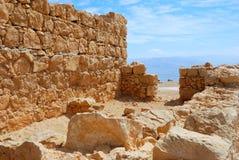 Ancient ruins. Shattered fragment of ancient ruins. Masada, Israel Royalty Free Stock Images