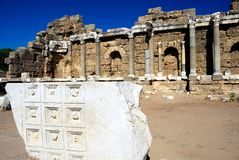 Ancient Ruins in Side, Turkey. Ruins of ancient Roman city in Side, Turkey Stock Photography