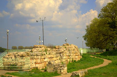 Ancient ruins of Silistra Bulgaria. The ruins of a the medieval city of Drastar, known as Durostorum in the Antiquity, today's Danube city of Silistra.Bulgaria Royalty Free Stock Images