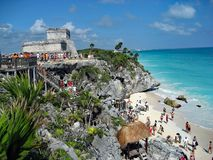 Tulum Ruins in Mexico on a sunny day stock image