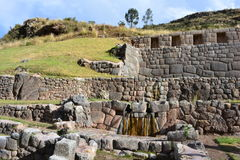 Ancient ruins of Tambomachay Baño Inca, in Cusco, Peru. There are the ruins of Tambomachay, aka Baño Inca Inca`s Bathroom in valle sagrado sacred valley, Cusco Stock Photography