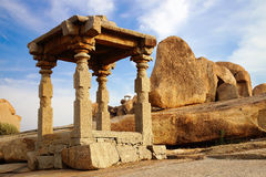 Ancient ruins of Temple. Hampi, India. On the photo: Ancient ruins of Temple. Hampi, India Stock Photos