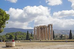 The ancient ruins of the temple of Zeus, the main god of ancient Olympus. stock image