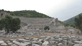 Ancient ruins and temples at Ephesus as the ethnic heritage of our ancestors stock video footage