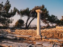 Ancient ruins in Thassos at Aliki near the old quarry and marble port stock images