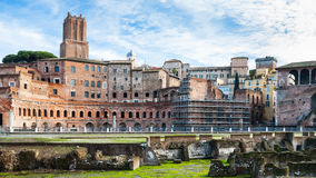 Ancient ruins of trajan`s market in roman forum Stock Photo
