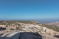 Ancient ruins at Umm Qais with the Sea of Galilee Stock Image