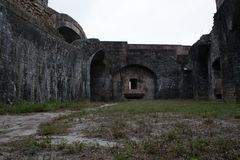 An ancient ruins view outside Fort Pickens Stock Image