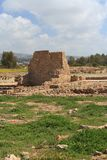 Ancient ruins of walls in Paphos Archaeological Park. Cyprus spr Royalty Free Stock Photos