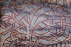Ancient runes in Stockholm. Runes - the writing of the ancient G Stock Photo