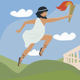 Ancient runner with flaming torch Royalty Free Stock Image