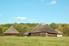 Ancient rural barn. Ancient traditional ukrainian rural barn with a straw roof Stock Images