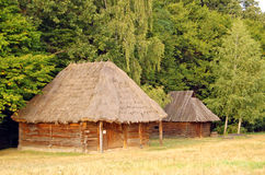 Ancient rural barn. Ancient traditional ukrainian rural barn with a straw roof Stock Photography