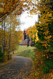Ancient rural church. In the autumn landscape Stock Image