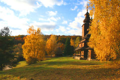 Ancient rural church. In the autumn landscape Stock Photography