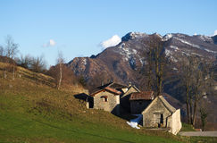 Ancient rural village in the Alps. Stock Photos