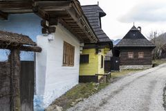 Ancient rural village Vlkolinec, Liptov, Slovakia. In winter time Stock Photos