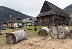 Ancient rural village Vlkolinec, Liptov, Slovakia. In winter time Royalty Free Stock Photos