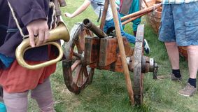 Ancient - Russian cannon. 14th century Shoots cores. Riplika, put on display. Russia royalty free stock image