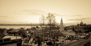 Ancient Russian city of Kostroma. Winter evening. Toning Stock Images