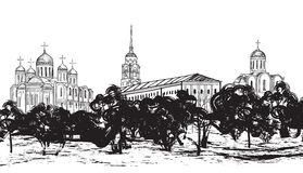 Ancient russian city Vladimir. Old russian town architecture Royalty Free Stock Image
