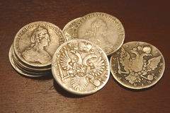 Ancient russian coins. Old silver rubles Royalty Free Stock Image