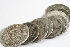 Ancient russian coins. On the white background Stock Photo