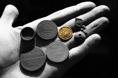 Ancient russian copper and gold coins Royalty Free Stock Photos