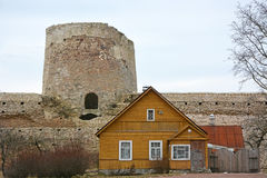 Ancient Russian fortress- Izborsk fortress stock photo