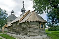 Ancient Russian loghouse church. Near Saint Petersburg, Russia royalty free stock photography