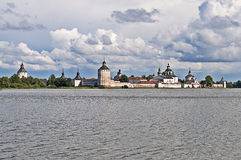 Ancient russian monastery at the lake bank Stock Photo