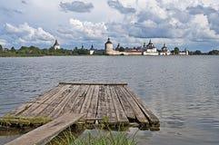 Ancient russian monastery at the lake bank Royalty Free Stock Photo