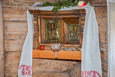 Ancient russian orthodox icons in wooden house Royalty Free Stock Photos