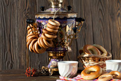 Free Ancient Russian Samovar With A Big Cup Of Tea Stock Photos - 72548203