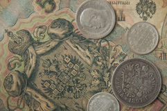 The ancient Russian, silver coins and old banknotes times of  Nicolay 2. The ancient Russian, silver coins and old banknotes times of czar Nicolay 2 Stock Photography