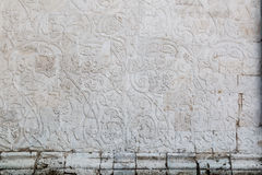 Ancient russian white stone carving, ornament, decor Stock Photos