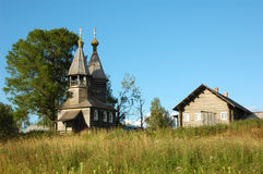 Ancient russian wooden chapel Stock Image