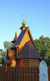 Ancient russian wooden church. In the traditional style Royalty Free Stock Image