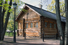 Ancient Russian wooden house from logs. Royalty Free Stock Image