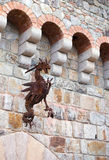 Ancient rusty metal dragon sculpture result craftsmanship old bl Royalty Free Stock Photography