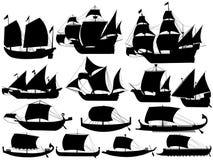 Ancient sail boats vector illustration